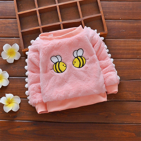 Baby girls winter warm sweater fashion cotton fleece velvet thick coats jackets for infant sweater toddle clothing