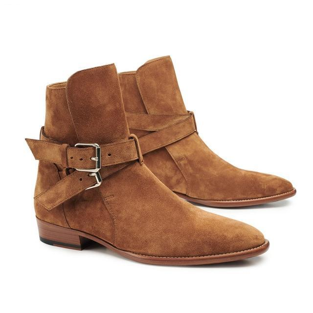 89d477b26f Handmade Luxury Brand Men Boots Fashion Buckle Strap Rome Style Male  Chelsea Boots Wedge Genuine Leather Banquet Wedding Boots