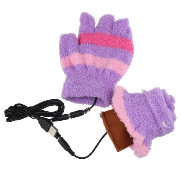 New 1 Pair USB Gloves Heating Winter Warm Gloves Heated Fingerless Warmer Mitten For Women S10 SE11
