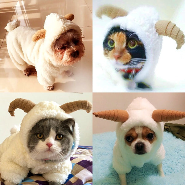 Cute Sheep Cosplay Dog Clothes Warm Fleece Dog Coat Jacket For Small Puppy Dog Yorkshire Chihuahua Cat Costume