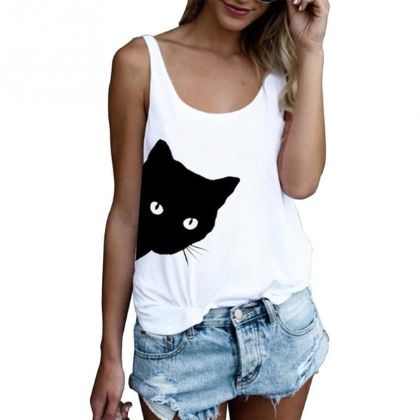 Women Fashion Casual Summer Tank Tops Ladies Vest Cat Print Crew Neck Loose Sleeveless Plus Size 2XL