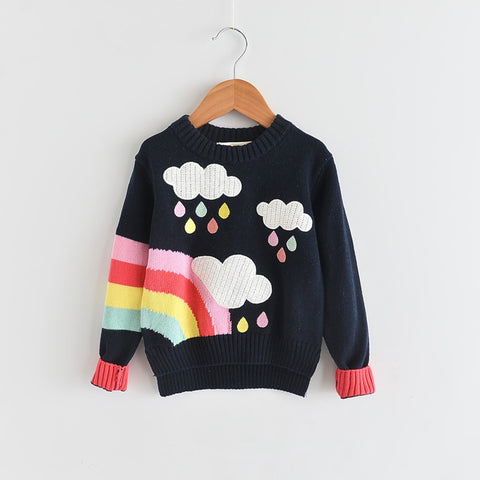 Girls Sweater Fall & Winter Children Sweater Pullover Cloud Rainbow Pattern Kids Tops Size 3-7 Years Old