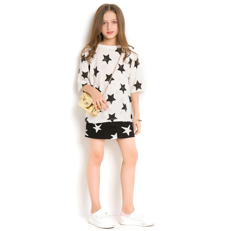 Girls Clothing Sets Summer star Half Sleeve T-Shirt +Skirt 2Pcs teen  Suits For Girl costume Age 6 8 10 12 14 Years old