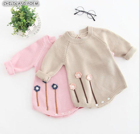 New Born Baby Clothes Autumn Winter Baby Knitted Romper Embroideried Baby Girl Romper Long Sleeve Baby Rompers Girls Jumpsuit