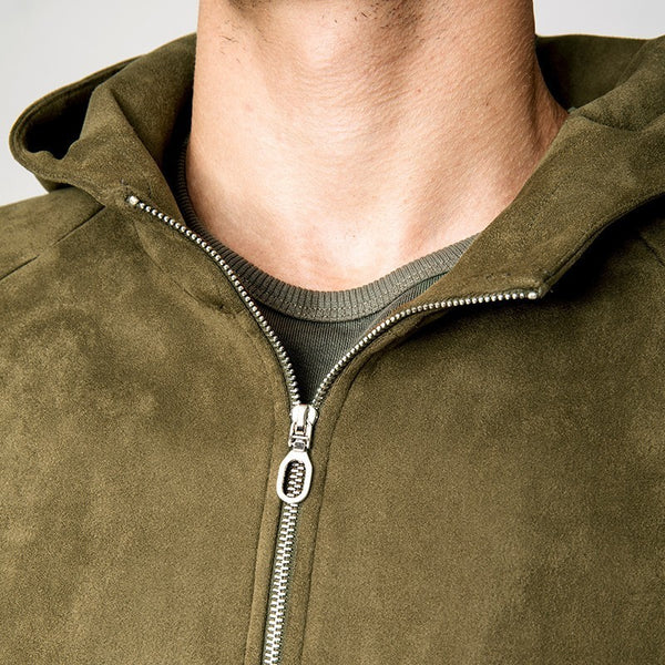 Autumn Men Jacket Hooded Suede Faux Leather Zipper Pocket Green Color For Man Fashion Slim Clothing New Male Outdoor Coat 1112