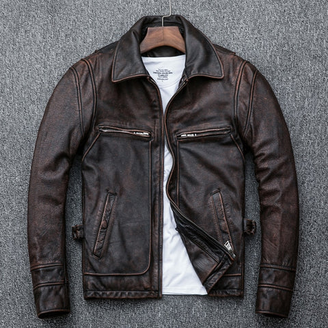 Free shipping.Vintage Brown coat men cowhide Jackets,men's genuine Leather slim jacket.casual homme Fitness plus size