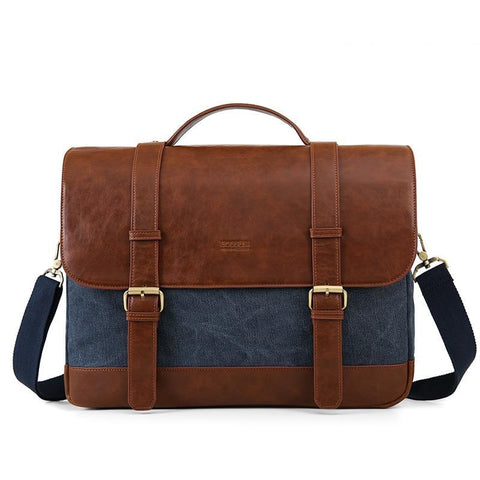 Vintage Men's Briefcase 15.6 Inch Laptop Shoulder Bags Canvas Leather Male Messenger Bags Shoulder Satchel Computer Bags