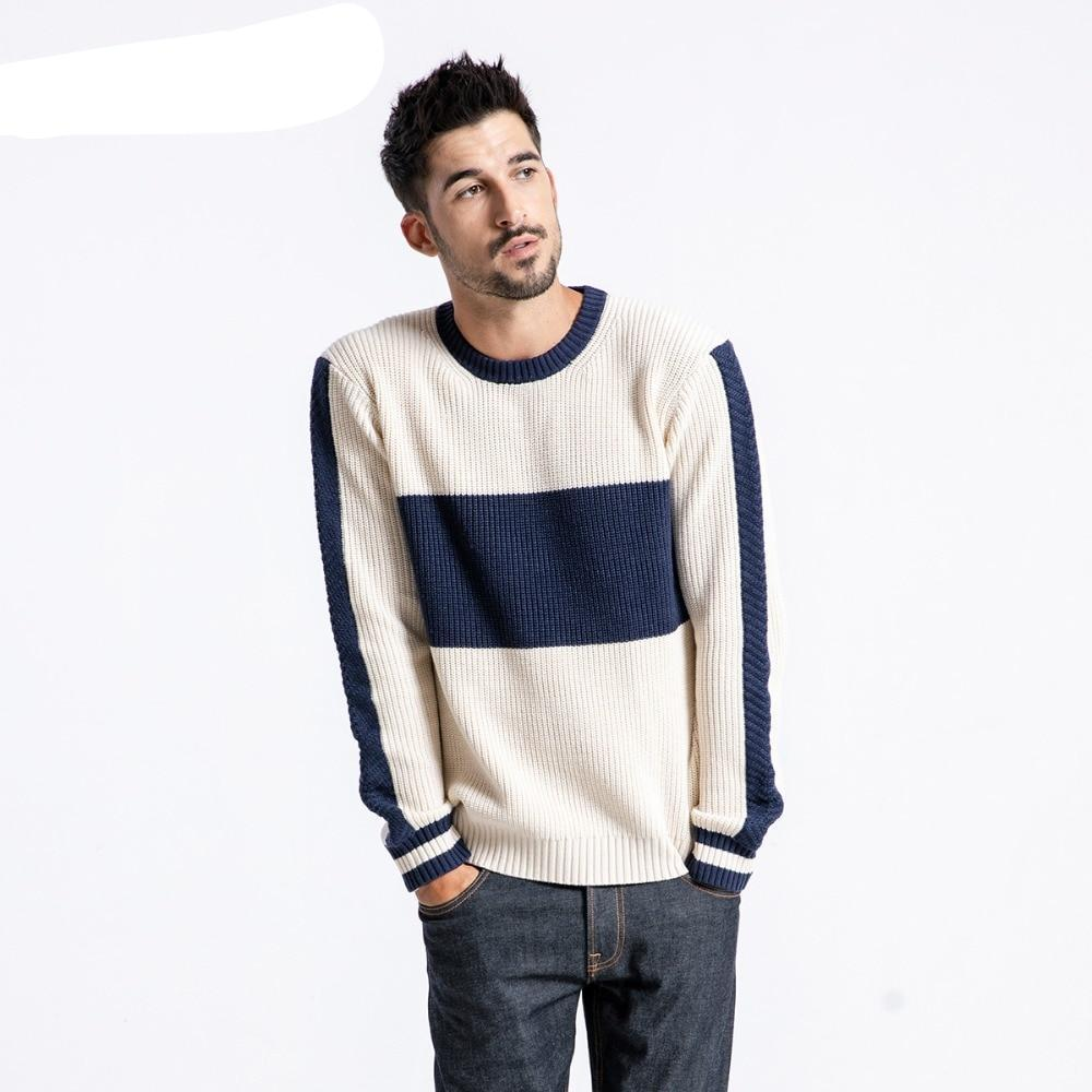 f77b7cc9921 Winter Sweater Men Fashion Slim Fit Contrast Color Knit Pullover Plus Size  Striped Brand Clothing Male ...