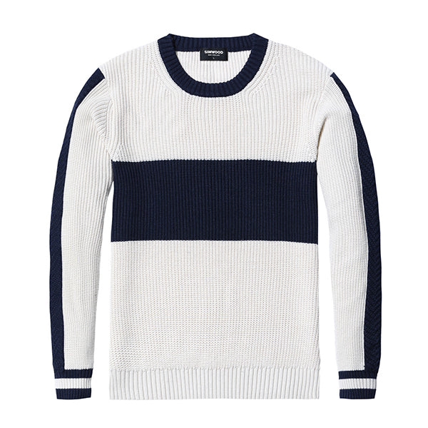 56adad2e8f5 ... Winter Sweater Men Fashion Slim Fit Contrast Color Knit Pullover Plus  Size Striped Brand Clothing Male ...