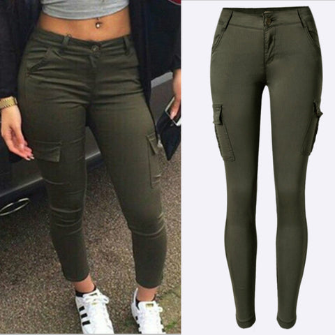 New Army Green Pockets Trousers Women Fashion Cotton Safari Style High Elastic Skinny Jeans Mujer Low Waist Patchwork Pants