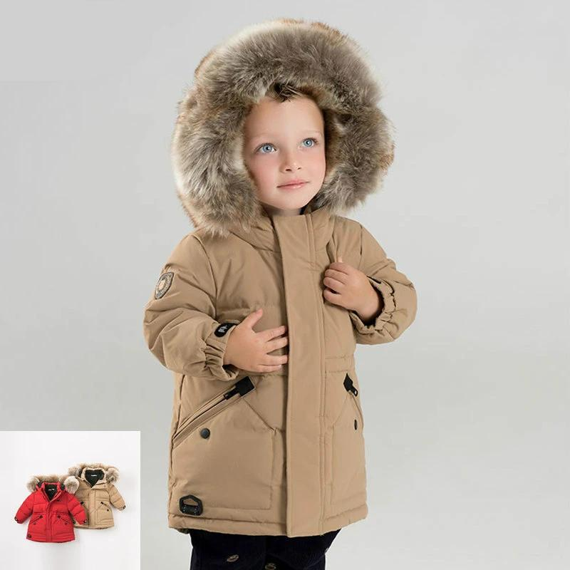 winter baby boys down jacket children white duck down padded coat kids hooded outerwear with big fur