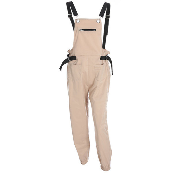 Fashion Suspender Trousers For Women streetwear Casual Loose One Piece Women zipper Pockets jumpsuit Vestidos Overalls
