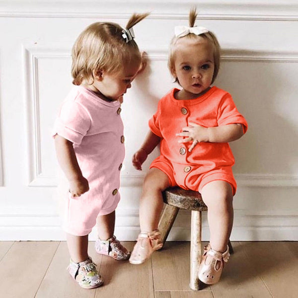 Fashionable Clothes For Baby Romper Summer Newborn Boys Girls Solid Button Romper Jumpsuit 6 Colors Casaul Clothes #0