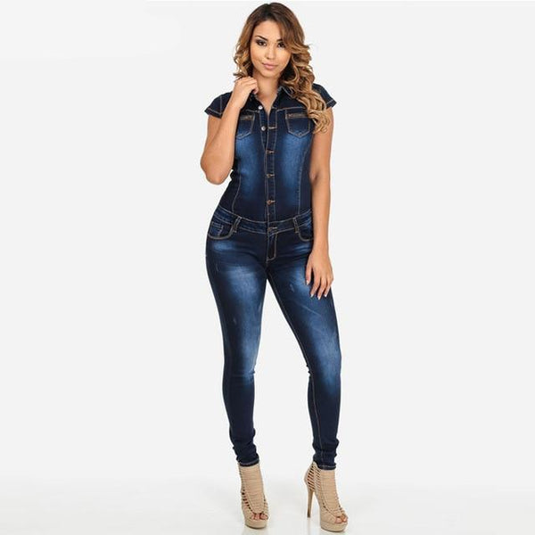 Sleeve Denim Jumpsuit Rompers Women Bodycon Jeans Jumpsuit Denim Button Pocket Casual Summer Overalls Long Trousers