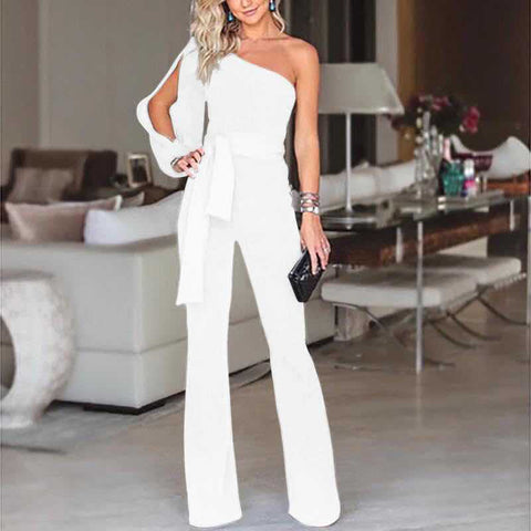 Summer New Women Lace Up Empire Irregular Jumpsuit One Shoulder Sexy Jumpsuits Female Strapless Straight Long Rompers
