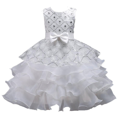 JaneyGao Flower Girl Dresses For Wedding Party Elegant White With Sequins Tiered Dresses For Little Girl Formal Gown In Stock