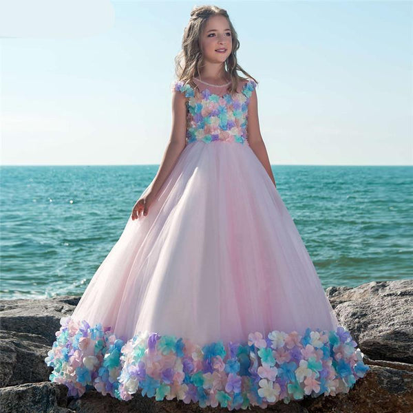 New A-Line Scoop Pink Flower Girl Dresses For Weddings With Colorful Flowers First Communion Dresses Girls Pageant Dresses