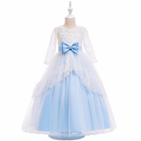 Dress Blue Lace Wedding Pageant Summer Party Dresses Clothes Size Flower Girl Dresses