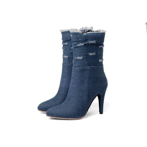 Denim  boot short Pointed Toe Women Autumn winter High Heels Wedding Shoes Woman Y72