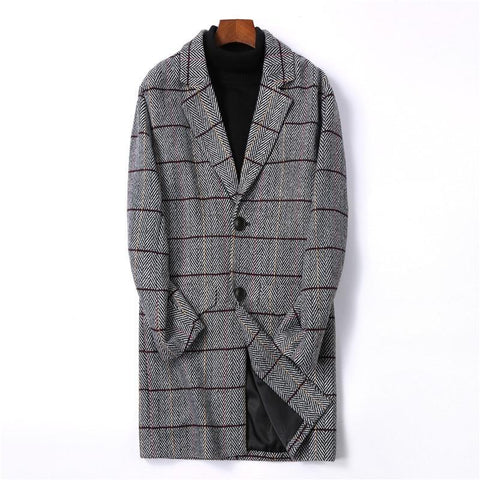 Men's Clothes New Arrive Mens Woolen Coats Slim Fit Long Plaid Trench Coat Male M-4XL Autumn Wool Jackets for Men