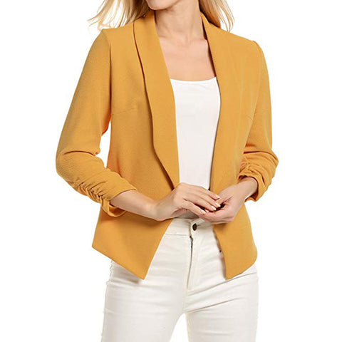 Autumn Slim Fit Women Formal Jackets 3/4 Sleeve Blazer Office Work Solid Ladies Blazer Coat Hot Sale Fashion