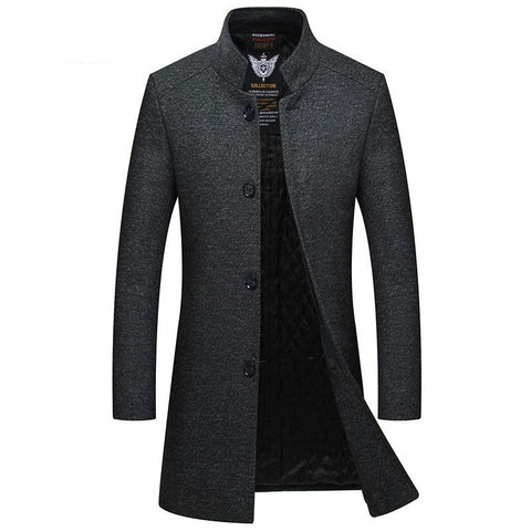 winter new style men's slim woolen coat luxury high quality thick warm single-breasted stand collar business casual coat