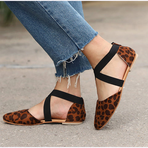 Women Leopard Two Piece Cross Strap Elastic Band Autumn Flats Female Pointed Toe Shoes Ladies Casual Footwear Plus Size
