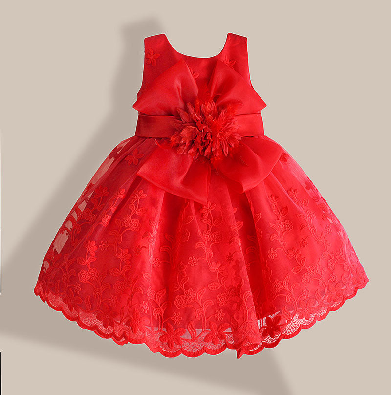 Baby Girl Dress Red Lace Flower Embroidery Kids Dresses for girls party dress vestido infantil 1-6 years