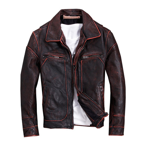 style men plus size genuine leather jacket.fashion motor biker coat,vintage slim cowhide jackets.cool