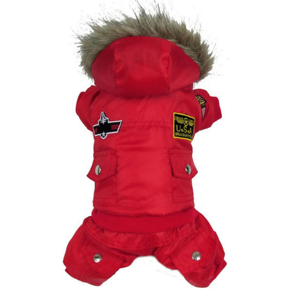 Dog warm winter Coat Jacket USA AIR FORCE Waterproof Puppy hoody clothes Dogs Kitten Puppy Thick Animal hoodies Coats 4XL