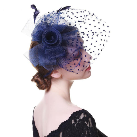 Women Wedding Hats With Face Veil Bridal Headwear Nightclub Feathers Linen Hat for Brides Fascinator with Clips Hairband