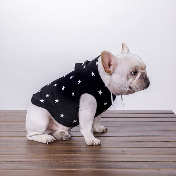 Dog Hoodie Full Print Five Star Pet Jacket Clothes Black White Jacket Warm Clothes Star Sweater Summer Soft Coat Costume