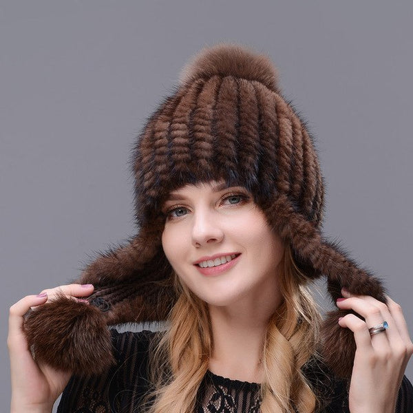 Hand-kintted Natural Mink Fur Hat Thick And Warmth Long Ear Cap Double Closely Woven Hat For Women With Three Fox Fur Pom Poms
