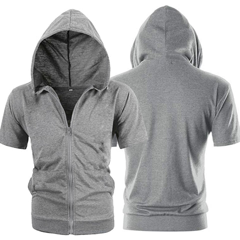 Fashion Short Sleeve Mens Hoodies Jackets Casual