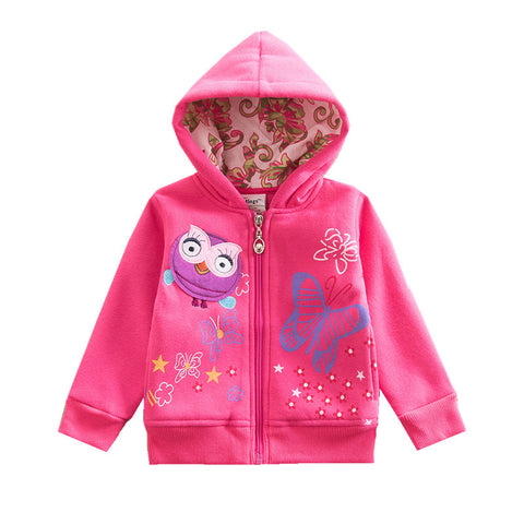 Girls Coats and Jackets Girls Hooded Outerwear Children Cartoon Jackets Kids Warm Autumn and Winter Coats with Zipper