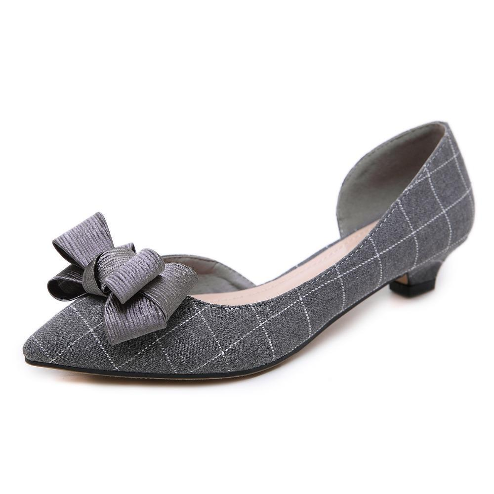 3b9c29c60 Autumn Women Retro Low Heels Shoes Woman Fashion Bow-knot Pointed Toe Side  Hollow Sexy ...