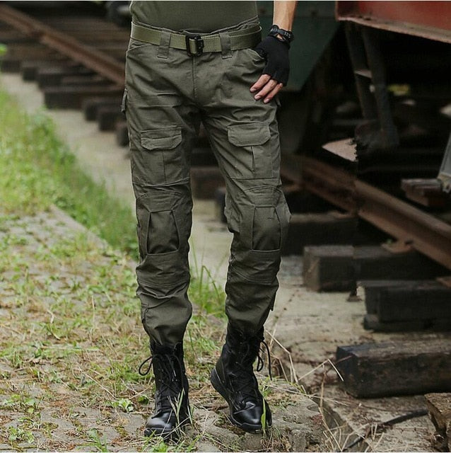 d2a9ed4f ... Men Military SWAT Combat Tactical Pants Camo Cargo Pants Men's Airsoft  Paintball Slim Casual Camouflage Cargo ...