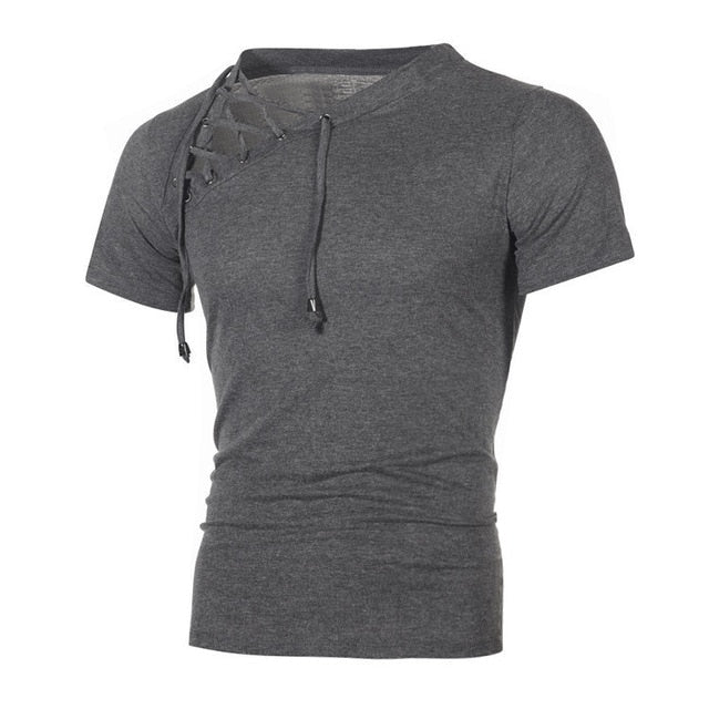 New Men's Fitness Gyms t shirt Male sexy bandage hollow out White Short Sleeve t Shirt Men Sexy V Neck T Shirt Tops M-3XL