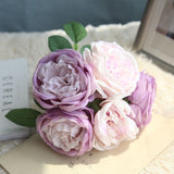 Artificial Flowers Peony for Wedding Decor Silk Peonies Bouquet for Home Decoration Fake Rose Flower 5PCS/Bouquet