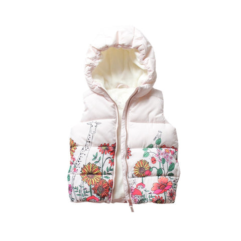 Autumn toddler Baby Vest For Girls Vest pink flower Children Clothes Waistcoat Girl Coat new year costume Winter clothing
