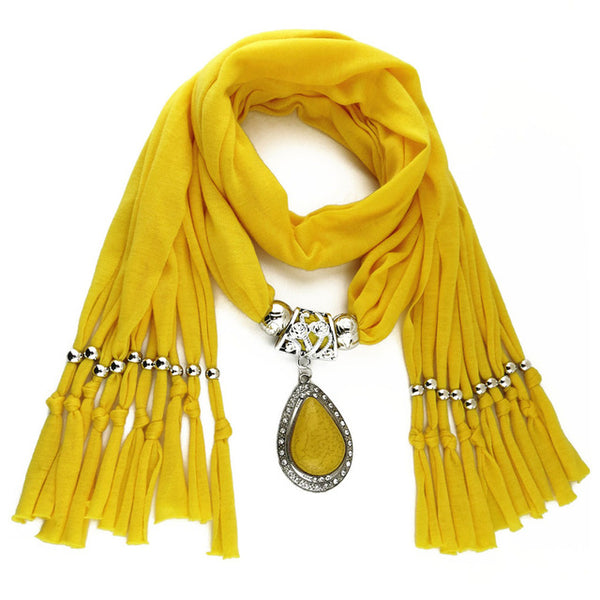Hot Style Woman's Long Resin Little Rhinestone Pendant Shawl Scarf Necklace Scarf with Pendant