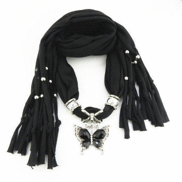 Women Fashion Butterfly pendant Pendant Jewelry scarf For Ladies/Female necklace scarf in stock Free Shipping