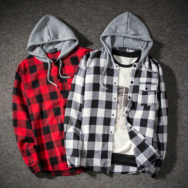 Hoodies Tracksuit Men's Autumn Casual Plaid Shirts Long Sleeve Pullover Shirt Top Hooded Blouse Sportswear