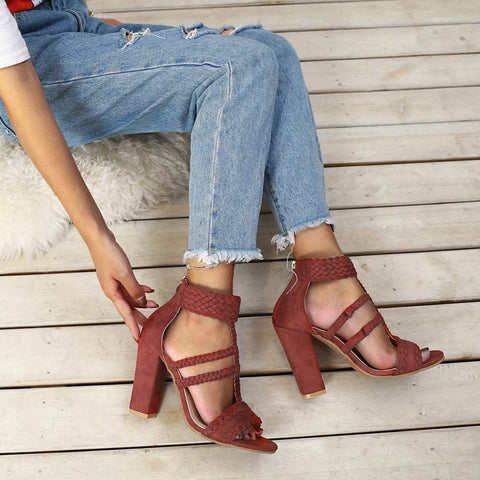 New Summer Thick high heels Sandals Leather Women Shoes Personality Leisure Women Handmade Sandals sapato