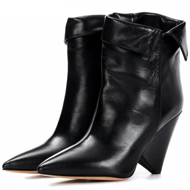 Brand shoes autumn winter shoes woman genuine leather high heel ankle boots pointed toe shoes riding boots black shoes