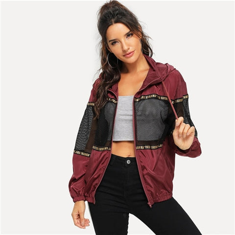 Burgundy Athleisure Mesh Insert Drawstring Hooded Windbreaker Jacket Women Autumn Casual Overcoat And Tops