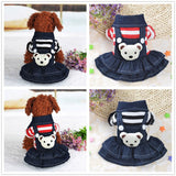 Dog Puppy Dress Cat Strap Denim Skirt Pet Dog Clothes Apparels #25