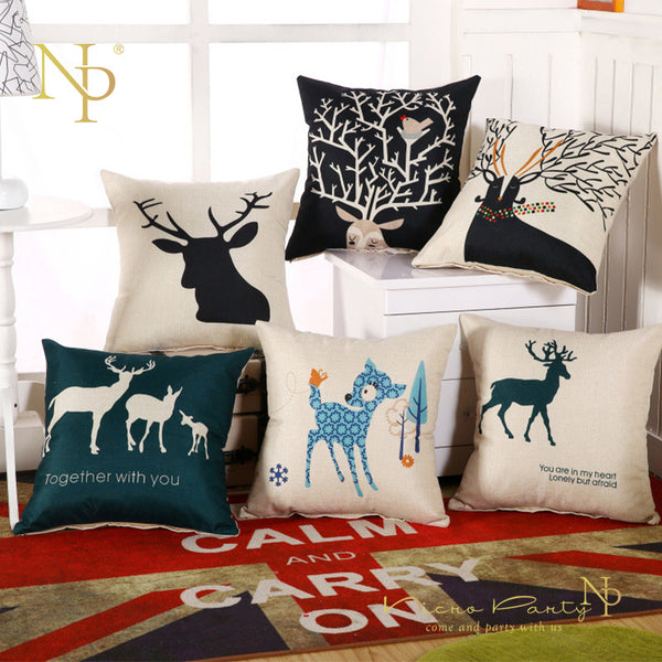 Nicro 45*45 Cm Flax Pillowcase Christmas Printed 14 Colors Diy Party Home Decor Decoration Christmas Decorations kerst #Oth24