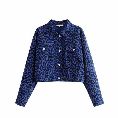 Autumn Vintage Leopard Print Short Jacket Coat Lapel Collar Long Sleeve Streetwear Outerwear Casual Femme