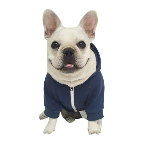 Solid Color Dog Zipper Sweater Coat Dark Blue Yellow Pet Dog Clothe Hoody Soft Cotton Dog Clothing Small Large Sizes Zipper Coat